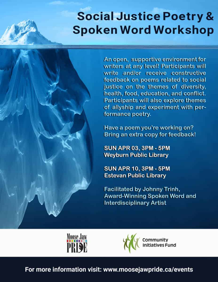 Social Justice Poetry Amp Spoken Word Workshop Moose Jaw Pride
